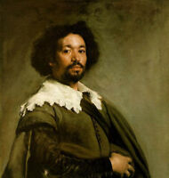 Nice Oil painting Diego Velazquez - Young portrait Bearded man Juan De Pareja