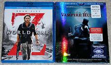 Horror Blu-ray DVD Lot - World War Z (Used) Abraham Lincoln Vampire Hunter (New)