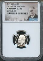 2019 S First .999 Fine Silver Dime NGC PF70 UC Portrait Label