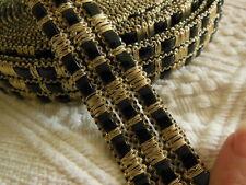 beau galon vintage noir doré trés large idéal creeation bijoux sac.... au mètre