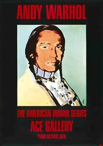 ANDY WARHOL American Indian Portrait 49.25 x 35 Poster 1976 Pop Art Black, Red,
