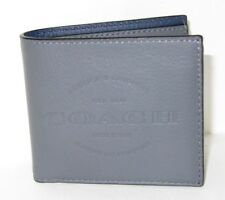 Coach Men's F24647 Double Billfold Wallet Graphite Leather Est 1941 NWT $175