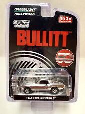 """Greenlight """"Bullitt"""" 1968 Ford Mustang GT 1/64 Diecast Car Chrome Chase 51226"""