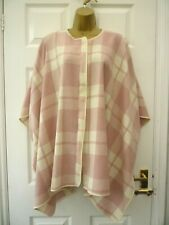 ATMOSPHERE Ladies Size 10 12 Pink Tartan Check Full Zip Lagenlook Poncho Coat