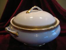 VINTAGE Oro Greco Chiave Fine Porcellana Cinese ZUPPIERA CON COPERCHIO & verdure piatto toscano