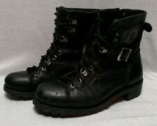 Mens Leather Skull Harley Davidson Motorcycle Zip Lace Up Riding Boots Sz 10