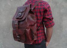 Men Handmade Real Leather Vintage Laptop Backpack Rucksack Messenger Bag Satchel