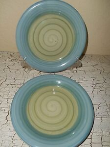 4 PIER 1 Green & Blue Colorful Swirls Stoneware Salad Plates