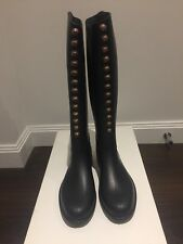 BNIB Fouganza black rubber knee high boots UK size 6.5 / EU 40