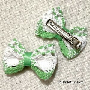 BARRETTE FANTAISIE PINCE CHEVEUX - NOEUD en dentelle coton blanc vert - CH20