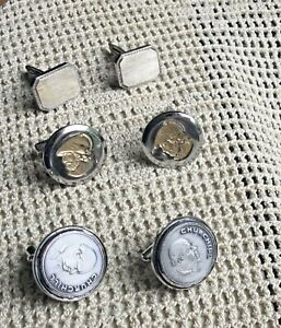 Vintage three sets, silver cufflinks, Churchill, tooled, gold face on silver