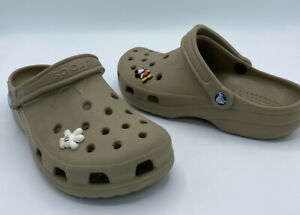 Crocs Womens Sz 6-7 Men's 4-5 Taupe Slip On with Mickey Mouse Charms
