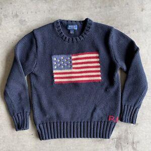 Polo Ralph Lauren Vintage 90s Navy Blue American Flag Knit Sweater Boys Size 7