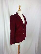 Aquascutum London Burgundy 2-Button Blazer Jacket Corduroy Coat Sz 10 USA Made