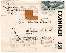 USA 1942, Brief m. 30 C. n. Deutschland m. RETURN TO SENDER SERVICE SUSPENDED