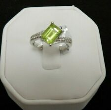 Size 7 Natural Chanbai Peridot & White Topaz Sterling Silver Ring  1.59cts