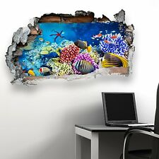 BROKEN WALL SEALIFE FISH V2 KIDS BEDROOM WALL STICKER VINYL TRANSFER MURAL DECAL