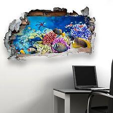 BROKEN WALL SEALIFE FISH V2 KIDS BEDROOM WALL STICKER VINYL TRANSFER MURAL DECAL