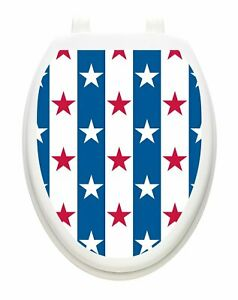 Toilet Tattoos Stars and Stripes Vinyl Lid Decoration Removable Reusable