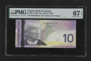 2004 Canada Bank of Canada BC-68a-i 10 Dollars PMG 67 EPQ Superb Gem UNC