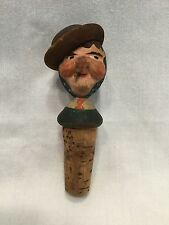 "Carved Wood Figure Bottle Stopper ""Giral"". *2895"