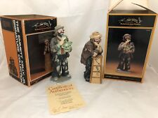 2 Autographed Emmett Kelly Figure Resting On Stool & Eating Cabbage