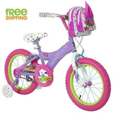 "Purple Girl Bike 16"" Comfortable Bicycle Child Training Wheels Handlebar Bag New"