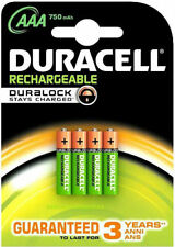 4 x Duracell AAA 750 mAh pré/STAY CHARGED Rechargeable Batteries NiMH 5000394090231