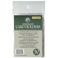 Semi Rigid Card Holders Save & Protect STANDARD Size PSA Grading NEW - 50 Count