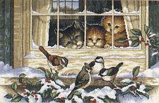 Cross Stitch Kit ~ Dimensions Three Cats at the Winter Window #3839