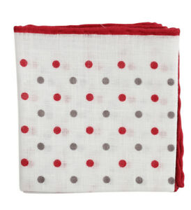 Brunello Cucinelli Pocket Square Off White with Red Grey Polka Dot BNWT
