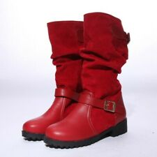 Women Flat Slouch Mid Calf High Boots Round Toe Plus Size Booties Pull On Shoes
