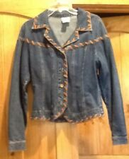 Vintage NEWPORT NEWS Blue DENIM WESTERN Womans JACKET Sz 6, Faux Leather Trim