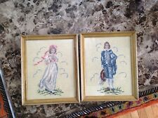 Set Vintage handmade needlepoint Victorian figures 1940s ?