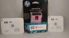 3 pack Genuine HP 02 Light Magenta Ink Cartridge C8775WN light blue and black.