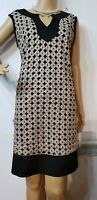 SANDRO FERRONE FITTED PATTERN DRESS SIZE UK US APPROX BLACK BEIGE 100% POLYESTER