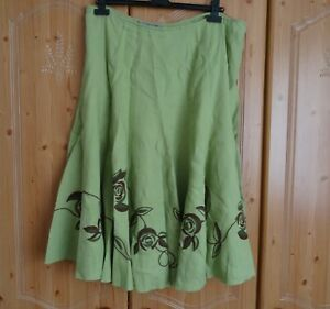 Per Una Green Linen Mackintosh Roses Embroidered Flippy Skirt M&S Size 18L