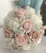 Wedding Bouquet, Artificial Vintage Rose, Flower Girl, Bridesmaid, Pearls, Lace