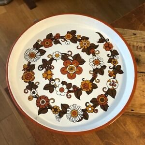 Vintage Round 1960's 1970's Serving Tray with Brown Flowers Design – Retro! –