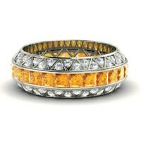 Solid 14K White Gold Diamond Rings 3.70 Ct Natural Citrine Wedding Eternity Band