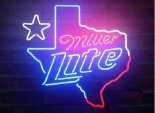 "New MILLER LITE TEXAS Star Beer Neon Light Sign 19""x15"""