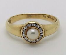 18K YELLOW GOLD PEARL AND CUBIC ZIRCONIA VINTAGE RING