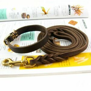 Dog Collar Chain Small Braided Leather With Leashes For Bulldog Pitbull Walking