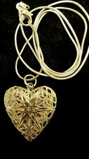 STERLING FILIGREE HEART LOCKET PENDENT WITH 20 INCH STERLING SNAKE CHAIN