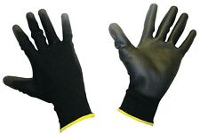 30 Pairs PU Coated Black Nylon Work Gloves. Gardening, Builders, Mechanic Large