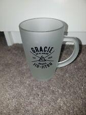 Rare New Gracie University Academy Brazilian Jiu-Jitsu Bjj Frosted Glass Mug Cup