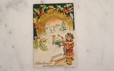 With Best Wishes A Merry Christmas Embossed Postcard Posted 1910