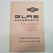 ✇ GLAS GOGGO ISAR S1004 1204 1500 1300 GT original Preisliste von Juli 1964