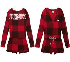 NEW Victoria's Secret Pink Red Plaid Sleep Short Romper Pajama Thermal outfit XS