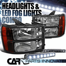 2007-2013 GMC Sierra Amber Black Replacement Headlights+8-LED Fog Lamps